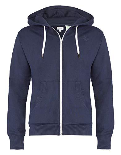 Banqert Herren Hoody, GOTS Zertifiziert, Bio Baumwolle, Männer Hoodie-s Kapuzenjacke-n Kapuzen-Sweater mit Reissverschluss Men, Dunkelblau Navy, X-Large XL