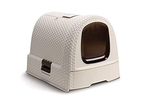 Katzentoilette, Katzenklo, Ausziehbare Schalentoilette, mit Schaufel Deckel Matte, Handgriff Tragbar (Weiß, 51.5 x 38.5 x 40 cm)