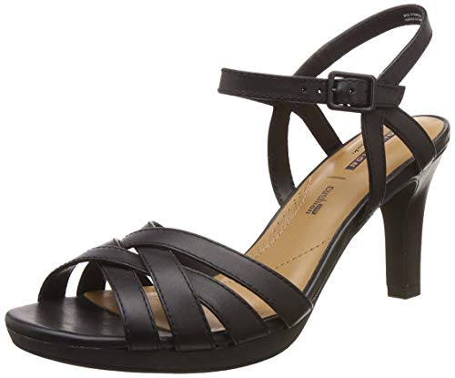 Clarks Adriel Wavy, Zapatos con Tacon y Correa de Tobillo para Mujer, Negro (Black Leather-), 40 EU