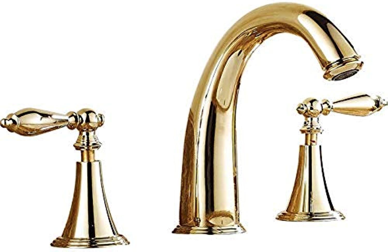 Wasserhahn Werkzeuge Wasserhhne Mohao Badezimmer Kupfer Europischen Antik Gold Doppel Drei-Loch Split Badezimmer Becken Warmen Und Kalten Wasserhahn Waschbecken