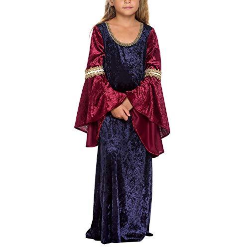 Elbenwald Kostüm Kleid für Kinder Arwen Elben Prinzessin für Herr der Ringe Fans blau rot - 152