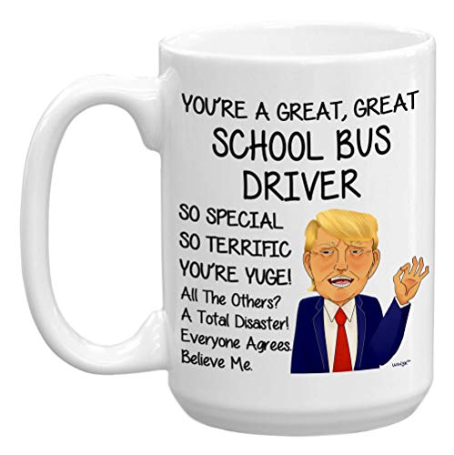 School Bus Driver Gifts For Women Men Coffee Mug 15oz - Funny Best Appreciation End-of-the-year Retirement Retired Birthday Christmas Gag Tea Cup Large Whizk MTR448