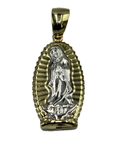 Diamantados of Florida Virgen De Guadalupe Medalla chapada en Oro de 18 Quilates con Cadena de 20 Pulgadas