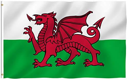 Anley Fly Breeze 3x5 Fuß Wales Flagge - Lebendige Farbe und UV-beständig - Canvas Header und doppelt genäht - Walisische Nationalflaggen Polyester mit Messingösen 3 X 5 Ft