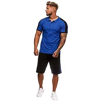FORUU Mens Sport Set 2021 Winter Outfit 2 Piece Set Long Sleeve T Shirts and Shorts Stylish Casual Sweatsuit Set Plus Size Best Tracksuit for Men Fashion Slim Fit Plus Size