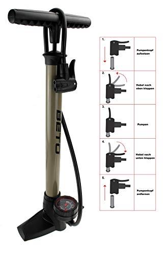 P4B | Fahrrad STANDPUMPE mit RUNDEM Manometer - für alle Ventile | Dualkopf passend für AV/DV/SV | Hubvolumen: 366 CCM | Nenndruck = 6 bar/90 psi | Standpumpe Luftpumpe (Titanium)
