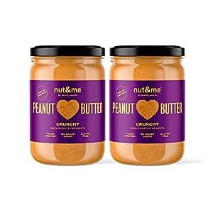 nut&me   Pack Cremas de Cacahuete Crunchy   Sin Azúcar   Sin Gluten   Vegano   (500g x 2 uds)