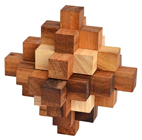 Crystal Snake Cube, japanischer Crystal Cube als Schlangenpuzzle, Knobelholz Snake Cube Puzzle, Holzpuzzle, Knobelspiel, Knobelbox, Ladder Puzzle, Twist Crystal, Twister Cube, 3D Puzzle