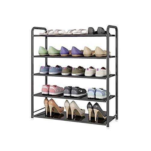Zapatero de hierro forjado, organizador de zapatos de 5 niveles, estante de almacenamiento para pasillo, baño, sala de estar y corredor zapatero