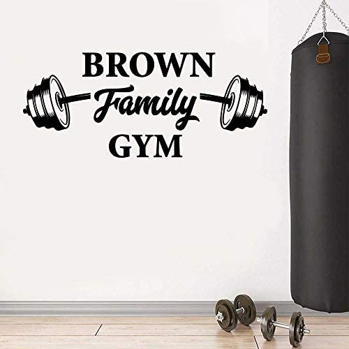Personalized Family Name Gym Wall Decal Gym Fitness Wall Decals Custom Training Barbell Wall product image