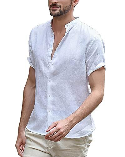 LVCBL Leinenhemden Herren Hemd Herren Kurzarm Regular Fit Herren Shirt Weiß L