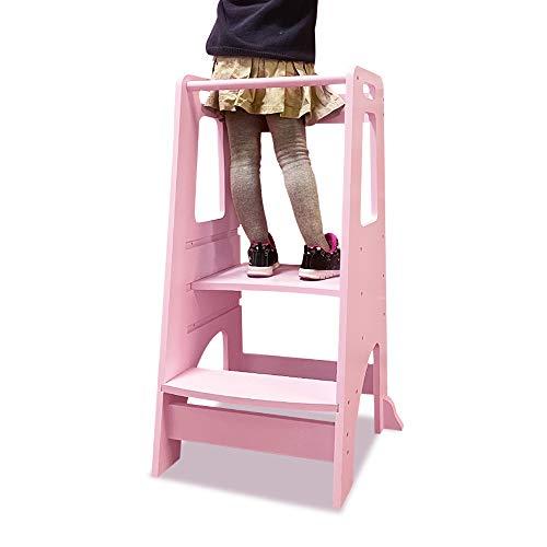 Torre de pie para niños, taburete de cocina para aprender a aprender a la cocina con plataforma ajustable, taburete de inodoro para niños, color rosa