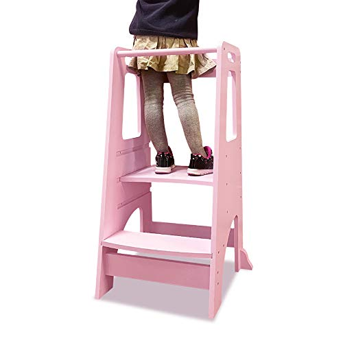 Torre de pie para niños, taburete de cocina para aprender a aprender a la cocina con plataforma ajustable, taburete de inodoro para niños, color rosa 🔥