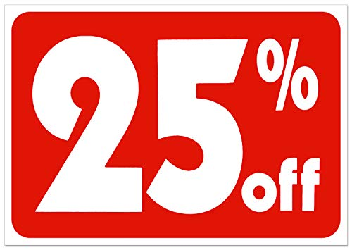 Sale 25% Off Sign Business Retail Store Shopping Message Sign - Durable Plastic 7�x 11� Price Signs - Boost Sales with Bright Display Signs - Promote Business at Retail Stores