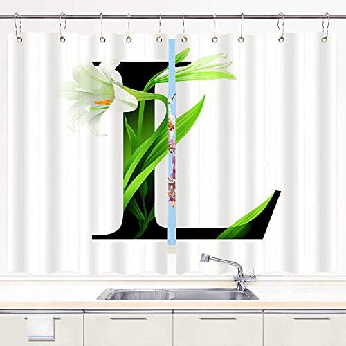YUDILINSA Cortinas para Ventana de Cocina,Letra L Alfabeto con Flor de Lirio ABC Tipo de Concepto Diseño de tipografía,Cortinas Cortas con Decoración de Ganchos para Baño,Paquete de 2,140x100cm