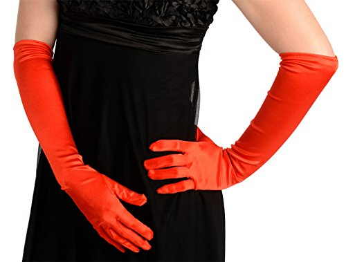 Kangaroo's One Size Elbow Length Red Opera Satin Gloves