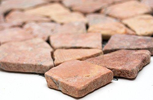Mosaik-Netzwerk MosaikflieseBruch/Ciot uni Rossoverona Marmor Naturstein Küche, Mosaikstein Format: 15-69x8 mm, Bogengröße: 305x305 mm, 1 Bogen/Matte
