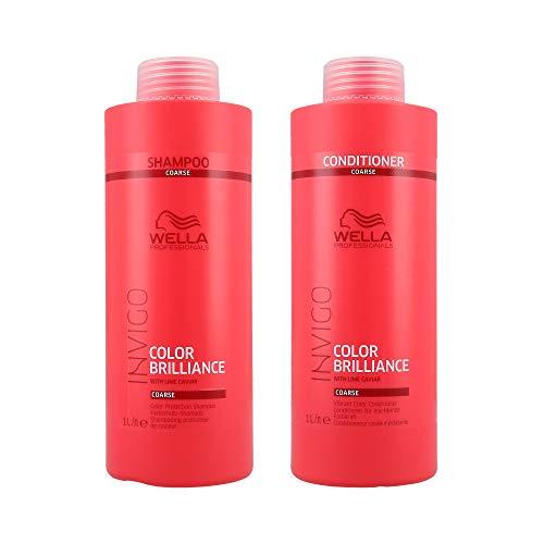 Wella INVIGO Color Brilliance Color Protection Coarse Shampoo 1000ml and Vibrant Color Conditioner 1000ml