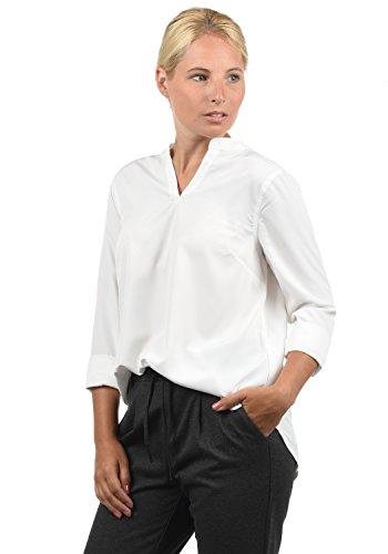 BlendShe Amore Damen Tunika Bluse 3/4-Arm Mit Rundhals-Ausschnitt Und Spitze, Größe:M, Farbe:Snow White (20006)