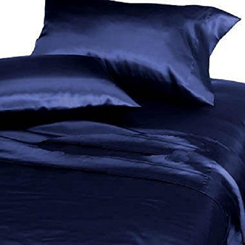 Chezmoi Collection Soft Silky Satin Solid Navy Blue 4pc Deep Pocket Sheet Set for Queen Bed