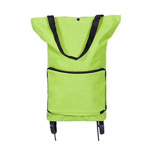 Dexinx Reisetasche mit Rollen Leicht Handwagen Einkaufstrolley Handtaschenhalter Einkaufstaschen Faltbar Einkaufswagen Tragbar Handgepäck (Grün, 55 * 28 * 18cm)