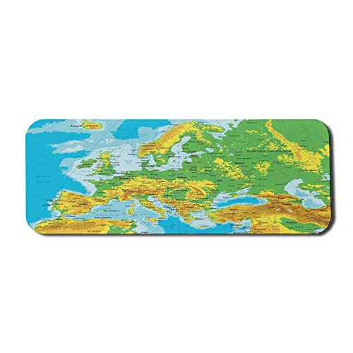 """Ambesonne Map Computer Mouse Pad, High Detail Map of Europe with Borders Countries Cities, Rectangle Non-Slip Rubber Mousepad Large, 31"""" x 12"""" Gaming Size, Multicolor"""