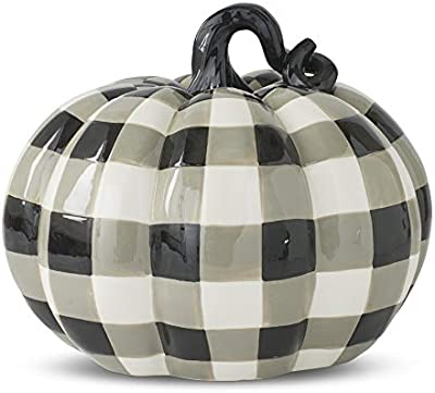 K&K Interiors 41486A 11.25 Inch Black & Gray Plaid Dolomite Pumpkin, White, Black and Gray