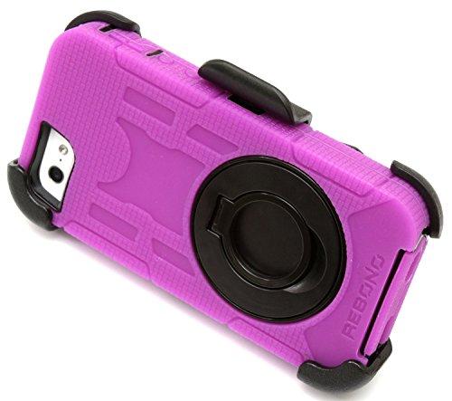 Best Shopper - Rugged Shockproof Defender Armor Case with Rotating Belt Clip/Kickstand for iPhone 6 Plus - Hot Pink