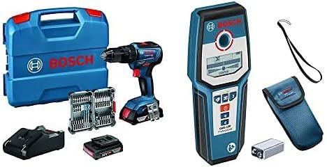 Detector de pared GMS 120 Juego de accesorios 2x2.0 Ah bater/ía par de torsi/ón m/áximo 55 Nm incl en L-Case cargador 35 pcs Bosch Professional 18V System Taladro percutor a bater/ía GSB 18V-55