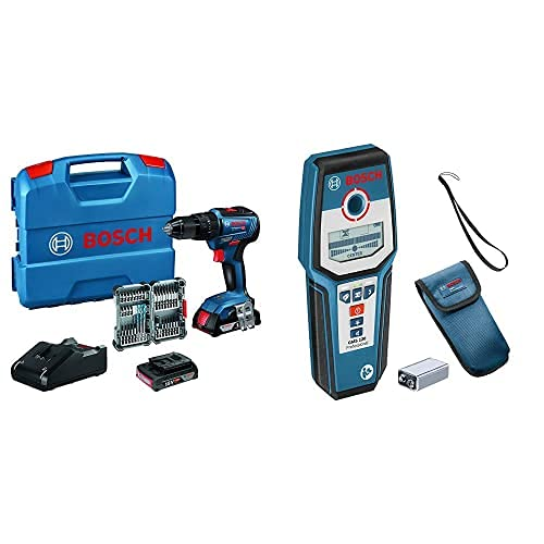 Bosch Professional 18V System Taladro percutor a batería GSB 18V-55, par de torsión máximo 55 Nm, incl. 2x2.0 Ah batería + cargador, 35 pcs, Juego de accesorios, en L-Case + Detector de pared GMS 120