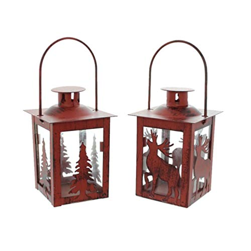 Uonlytech 2 stücke weihnachten hängende laterne niedlichen rentier weihnachtsbaum kerze laterne dekorative hängende tischleuchte für weihnachtsdekor (rot)