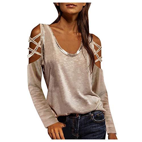 URIBAKY - Camiseta de manga larga para mujer, sin tirantes, cuello redondo hueco, para mujer, color liso beige M