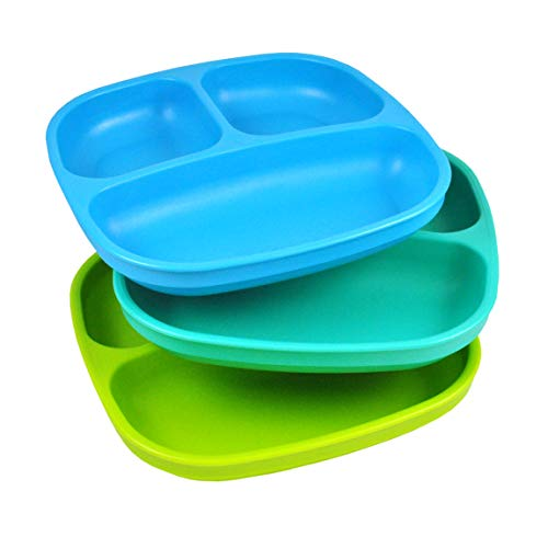 Re-Play Made in USA 3pk Divided Plates with Deep Sides for Easy Baby, Toddler, Child Feeding - Sky Blue, Aqua, Lime Green (Under The Sea)