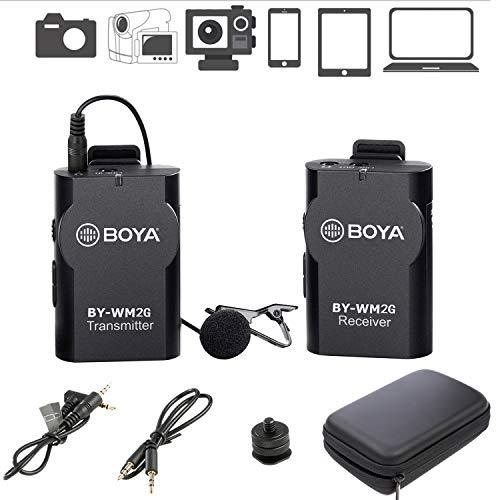 BOYA Microphones BY-WM2G Système de Microphone sans Fil Compatible avec Les téléphones intelligents iPhone 8 8 Plus 7 6, Canon 6D 600D Nikon D800 D3300
