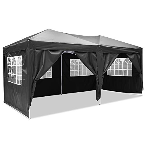 Homdox Carpa para jardín de aluminio, 3x 6m, cenador, pérgola con paredes...