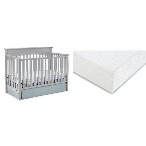 Graco Lauren Convertible Crib + Graco Premium Foam Crib and Toddler Bed Mattress, Pebble Gray