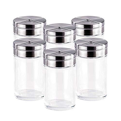 sylbx Tarros de Especias, 6pcs Cristal Especias Latas, Herméticos Tarro Cristal, Botes para Condimentos Ideal para Sal, Pimienta, Hierbas o Especias para Preservar el Aroma