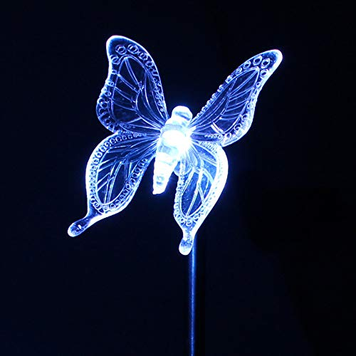 EPSSC Garden Decorative Solar Lights Outdoor Butterfly Stake Lights, Multi-Color Changing LED Fairy Garden Decorative Lights,3 Pack Fiber Optic Solar Butterfly Lights for Garden, Patio, Backyard