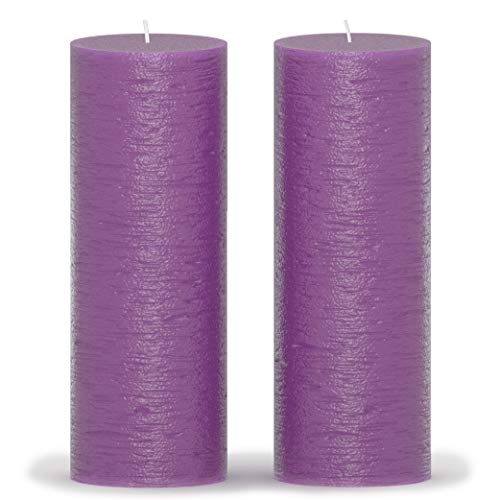 CANDWAX 3x8 Pillar Candle Set of 2 - Decorative Candles Unscented and No Drip Candles - Ideal as Wedding Candles or Large Candles for Home Interior - Purple Candles