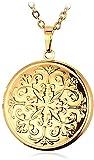 Yiffshunl Collar Moda Hombre Collar Vintage Medallón Collar para Mujer Joyería Color Dorado Estilo Elegante P o Caja Colgante Collar P415 Collar