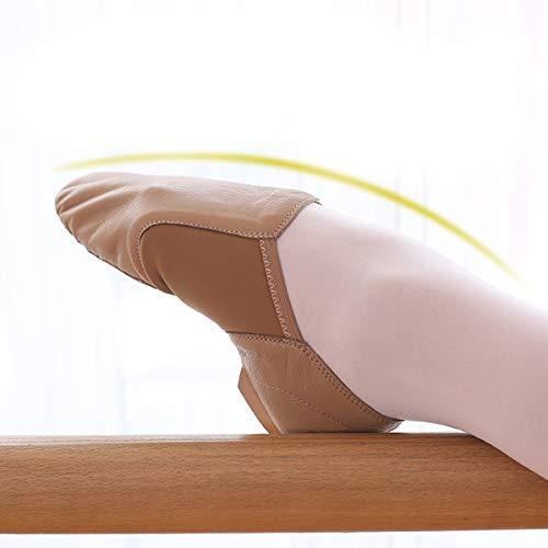 DoGeek Jazzschuhe Damen Tanzschuhe Leder, zum hineinschlüpfen, Geteilte Sohle für Kinder und Erwachsener - 5