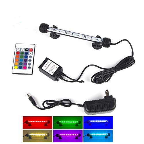 """LED Aquarium Lights, Fish Tank Light Waterproof RGB Color Changing Remote Control Underwater Submersible LED Lights Strip Background Decorate Lighting (7.5""""-18CM)"""