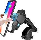 Sendowtek Cargador Inalámbrico Coche Carga Rápida Qi, Wireless Car Charger Soporte con Pinza Automática QC3.0 Cargador para iPhone X/XS/XR/8/8+, Samsung S10/S10e/S10+/S9/S9+/S8/S8+/S7, Huawei ect