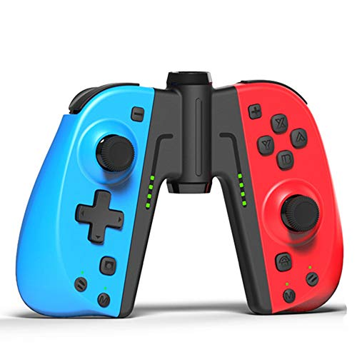 KINVOCA C25 Joy Pad Controller for Nintendo Switch, Replacement for Switch Joycon, Wired/Wireless Switch Controller, Programmable Macros, Turbo, Motion Control & Dual Shock, Red and Blue with Grip