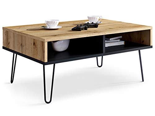 Viosimc Coffee Table for Living Room MIKA, Modern Sofa Side Table, Rectangular Centre Table with Stylish Metal Legs. (Wotan - Schwarz)