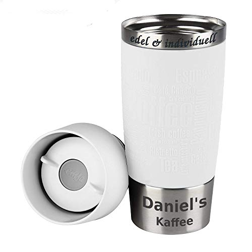 Emsa Isolierbecher Kaffeebecher 360 ml Weiß + Lasergravur