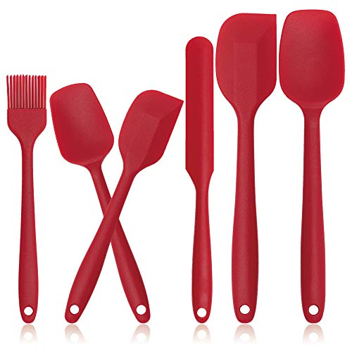 Silicone Spatulas Set of 6- Heat Resistant Rubber Spatula with Stainless Steel Core, Non-Stick Spatula for Cooking, Baking and Mixing, Dishwasher Safe (Red)