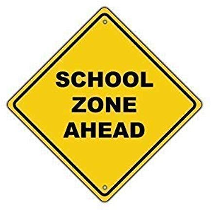WAGSUO School Zone Ahead Signs Aluminum Metal Signs Vintage Warning Signs for Home Decor Yard Gate Sign 8'x8'
