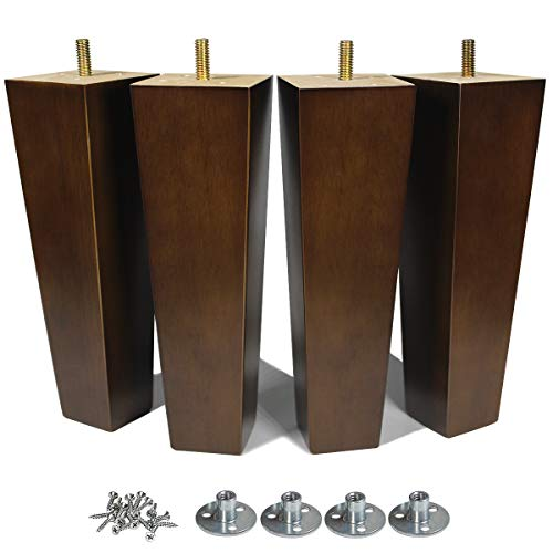 Wood Furniture Legs 8 inch Sofa Legs Set of 4 Square Replacement Legs Brown for MCM Ottoman Armchair Recliner Coffee Table Dresser