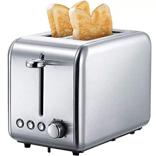 2 Slice Toasters,Stainless Steel Wide Slot Toaster,Control Knob of Bagel Reheat/Defrost/Cancel Function,Removable Crumb Trays,Auto Pop-Up Silver